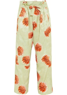 Etro Printed cropped silk-jacquard wide-leg pants