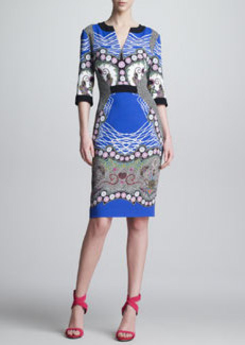 Etro Printed Paneled V-Neck Dress, Royal/Black