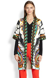 Etro Printed Silk-Knit Coat