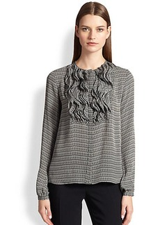 Etro Printed Silk Ruffle-Front Blouse