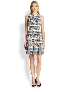 Etro Printed Striped Godet Dress