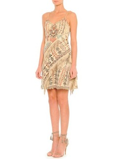 Etro Printed Suede Slip Dress with Fringe