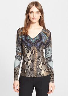 Etro Python Print Silk & Cashmere Sweater