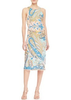 Etro Racerback Chain-Belted Paisley Dress, Blue/Pink