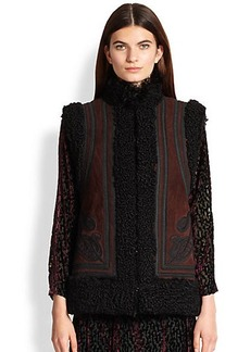 Etro Reversible Embroidered Shearling Vest