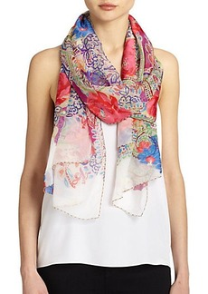 Etro Rose & Paisley Silk-Blend Scarf