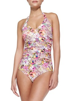 Etro Rose/Paisley-Print One-Piece Swimsuit