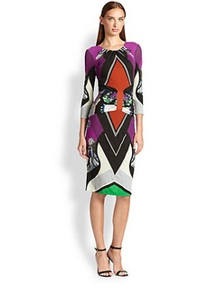 Etro Ruched Printed Jersey Dress