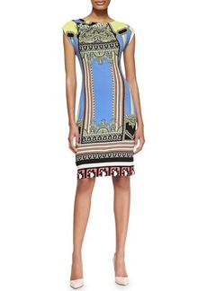 Etro Ruched-Shoulder Baroque and Ribbon Stripe Dress