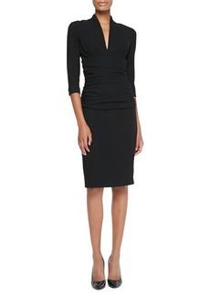 Etro Ruched-Waist Elbow-Sleeve Dress