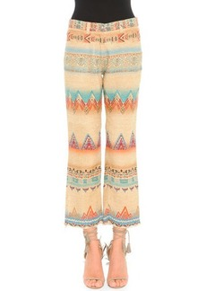 Etro Santa Fe Printed Linen-Blend Cropped Pants