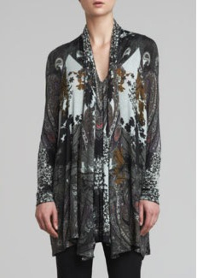 Etro Scarf-Collar Cardigan, Black/Multi