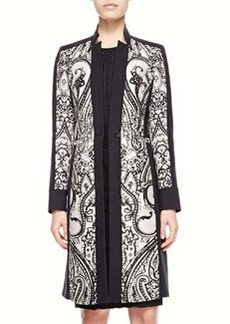 Etro Scroll Paisley-Panel Coat, Black/White
