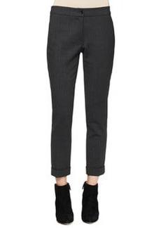 Etro Serged Front Zip-Cuff Capri Pants, Charcoal