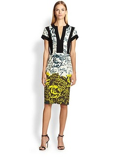 Etro Shadow Floral-Print Sheath