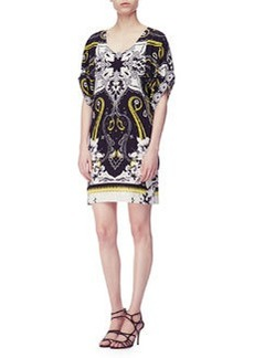 Etro Short-Sleeve Hawaiian & Paisley Print Tunic Dress, Black/White/Gold