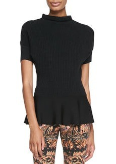 Etro Short-Sleeve Knit Peplum Top
