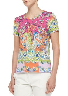 Etro Short-Sleeve Placed Paisley Tee, Pink
