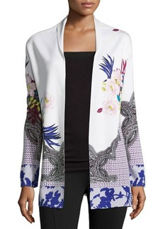 Etro Side-Slit Floral Cardigan  Side-Slit Floral Cardigan