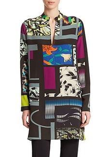 Etro Silk Cubic-Print Tunic
