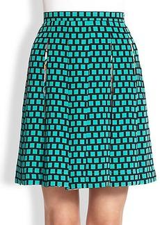 Etro Silk Floral & Grid Print Skirt