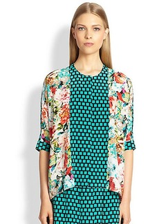 Etro Silk Floral & Grid Print Top