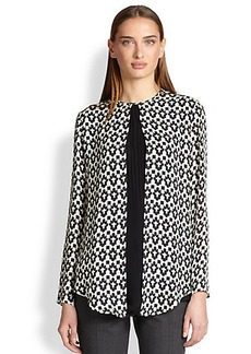 Etro Silk Geometric-Print Pleated Blouse