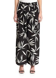 Etro Silk Orchid-Print Pants