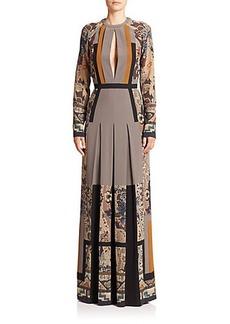 Etro Silk Pleated Cutout-Detail Gown