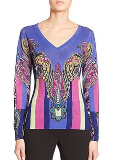 Etro Silk/Cashmere Paisley Striped Sweater