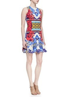 Etro Sleeveless Hawaiian & Paisley Print Godette Dress, Multicolor