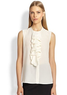 Etro Sleeveless Ruffled Silk Blouse