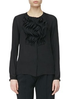 Etro Solid Chiffon Ruffle Front Silk Top, Black