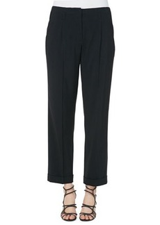Etro Solid Lightweight Cady High-Waist Pants, Black