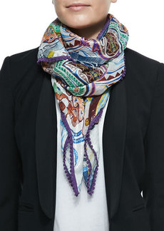 Etro Sparkle Paisley Scarf with Scalloped Trim  Sparkle Paisley Scarf with Scalloped Trim