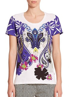 Etro Stencil Orchid Cotton Jersey Top