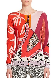 Etro Stencil Orchid Print Silk & Cashmere Cardigan