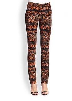 Etro Stencil Paisley Wool Skinny Pants