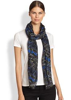 Etro Stencil Stripe Wool & Silk Scarf