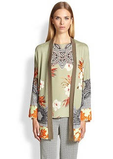 Etro Stretch Silk Border-Print Cardigan
