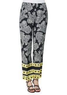 Etro Stripe-Border Paisley Pants, Black/White/Gold