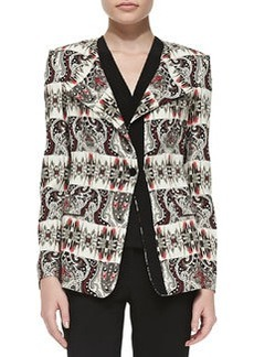 Etro Striped Cady One-Button Jacket, Coral/Multi