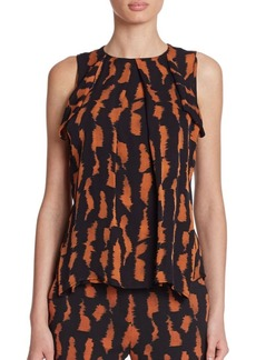 Etro Tiger-Print Flyaway Silk Top