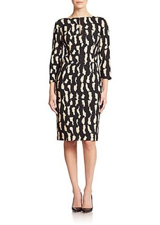 Etro Tiger-Print Wool-Crepe Sheath Dress