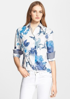 Etro Toucan Print Stretch Cotton Blouse