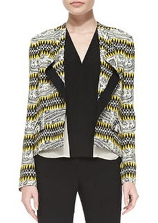 Etro Tribal Striped High-Low Crepe Jacket