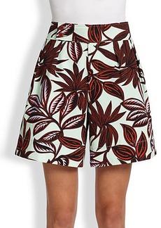 Etro Twill Palm-Print Shorts