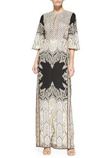 Flared-Sleeve Beaded Paisley Gown   Flared-Sleeve Beaded Paisley Gown