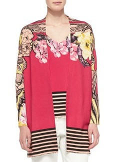 Floral Cardigan W/ Striped Hem   Floral Cardigan W/ Striped Hem
