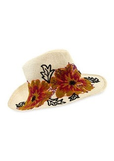 Floral Embroidered Straw Canvas Hat   Floral Embroidered Straw Canvas Hat